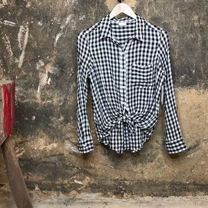 Abound black and white gingham button down shirt